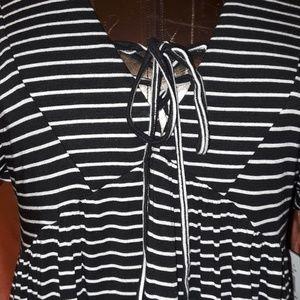 Heart Soul Dresses - ** Heart Soul Striped S/S Babydoll Tie Front Dress